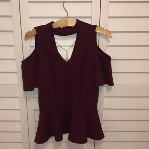 Burgundy shirt with gold necklace! 💛